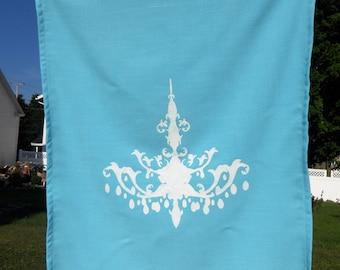 Blue T Towel - Chandelier, 25L X 19W, White on Blue Linen Fabric