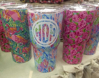 SALE Lilly Pulitzer monogram stainless rambler tumbler  with closing lid yeti-type insulated FREE monogram discounts for orders of 4 or more