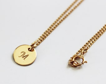 CUSTOM Gold Initial Necklace - Small disc necklace, personalized jewelry, disc with initial, disk necklace, script initial necklace, simple