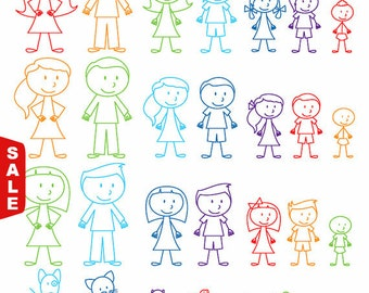 Sale! Stick Figures Photoshop Brushes, Stick People, Family and Pets Brushes - Commercial and Personal Use