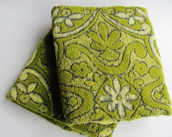 Vintage Bath Towels Pair Of Two Cannon Monticello Avocado Green Yellow And Black Floral And Scroll Design 1970s All Cotton