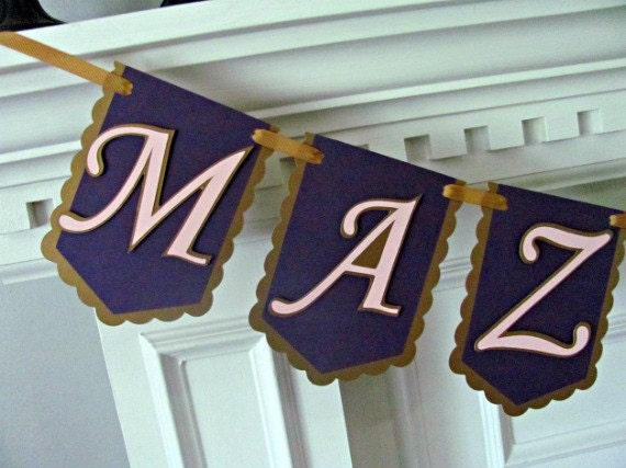 Mazel Tov Banner, Bat Mitzvah, Bar Mitzva Banner, Antique Gold, Pink and Purple with Star of David