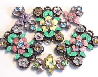 Six 2 Hole Slider Beads Topaz Rose Peridot Tanzanite Aqua Marine Lt. Amethyst Austrian Crystal Fancy Victorian Flowers Renaissance Botanical