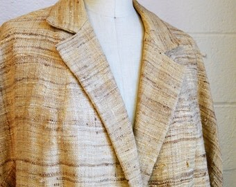 Silk Driving Coat 1970s Raw Silk Car Coat Edwardian Style Coat Natural Silk Duster Coat Amazing Condition Size Large