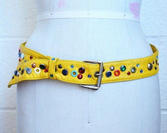 Vintage Yellow Leather Belt with Studs and Rhinestones Rings and Hearts and Airplane Made in France Large Yellow Belt Adjustable size