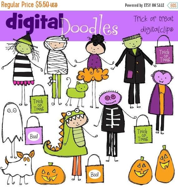 ON SALE KPM Trick Or Treat Halloween Kids Digital Clip art Combo