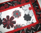 Floral Table Runner, Red, Black, White and Gray, quilted, fabric from Wilmington Cherry Pop line