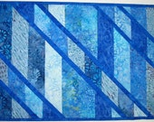 Batik Table Runner, blue shades, pieced, patchwork