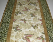 Butterfly Table Runner,  Metallic, fabric from Kaufman Tuscan Wildflower by Peggy Toole