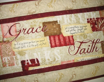 Scripture Table Runner, Table Topper, Bible Verses, quilted, focus fabric from Wilmington Prints