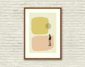 LOVE in THE ABSTRACT - Annie Hall Inspired Poster - 12 x 18 Mid Century Modern, cut paper collage, shapes, vintage, retro
