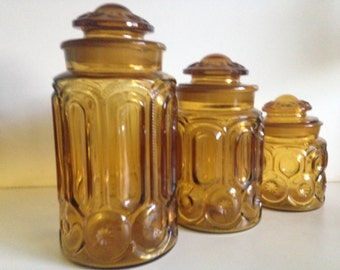 Retro Amber Glass Canister Jars