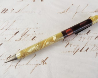 Antique Hilco Mechanical Pencil Brass and Celluloid Opalescent Design Float or Level on Bottom Half Office Supply