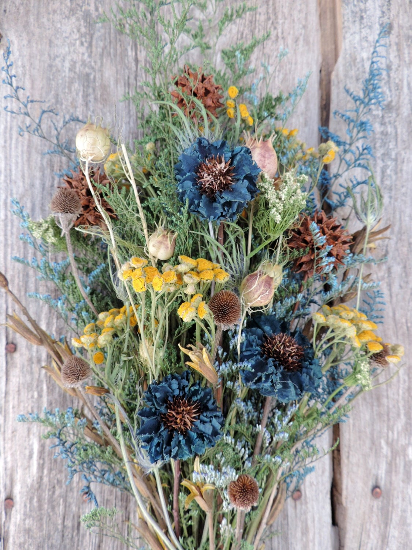Dried Flower Bouquet Floral Arrangement Handmade Cornflower