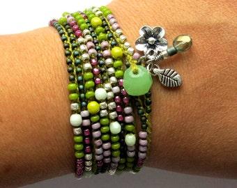 "Crochet wrap bracelet or necklace, beaded, ""Nomad"", lilac, olive, bohemian jewelry, crochet jewelry, boho wedding, spring fashion, ooak"