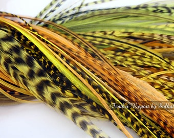 Etsy On Sale Cheap Feather Extensions Yellow Neon Insect Green Mustard Feather Hair Extensions Long Salon Feather Hair Accessories, 15