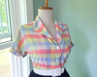 Vintage Cotton Rainbow Plaid 1950s 1960s Rockabilly Button Down Blouse