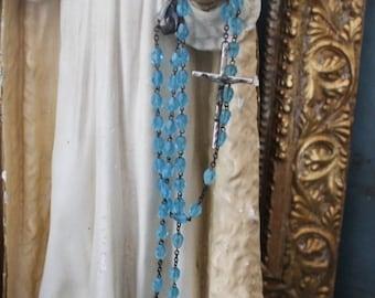 SHOP SALE Vintage Italian Aqua Glass Bead Rosary