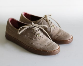 Vintage Ferragamo Suede Shoes / Brouge Style /Made in Italy / 7.5-8
