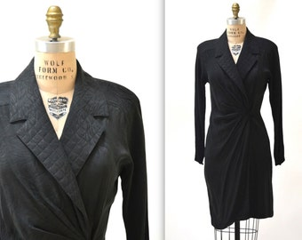 Black Silk Wrap Dress Size Medium Large // Vintage Black Wrap Dress Shirt Dress Silk Wrap Dress Size Medium Large