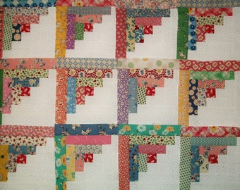 "Log Cabin Quilt blocks made using 1930's Reproduction cotton fabrics, 8.5"" x 8.5"""