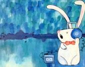 Music Bunny Rabbit Art, DJ Rabbit, Cute Whimsical Artwork, Kids Wall Art, Acrylic Painting, Nursery Decor, Abstract Kids Art