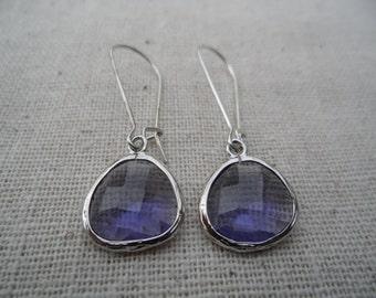 Purple Amethyst Dangle Earrings - Purple Jewelry - Bridesmaid Earrings - Purple Earrings