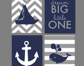 "Whale Nursery Nautical Nursery Navy and Gray Dream Big Little One Nursery Chevron Nursery Scripture Sign Set of four prints - 8""x10"""
