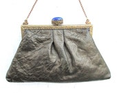 Antique Metallic Leather Purse with Blue Stone on Frame and Swans