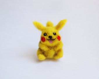 Miniature needle felted Pikachu