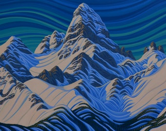 """Mt Assiniboine, 36""""X72"""", Original Painting, Canadian Artist, Ready to Hang, Gallery Canvas"""