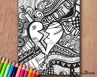 INSTANT DOWNLOAD Coloring Page - Broken Heart / Anti-Valentine's Day Art Print zentangle inspired, doodle art, printable
