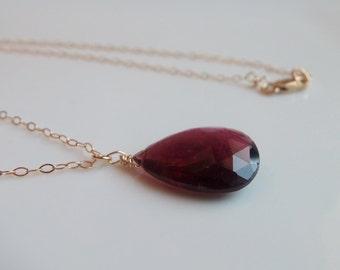 Rubellite Tourmaline Gemstone Briolette Pendant Necklace on 14k Gold Fill Handmade Jewelry