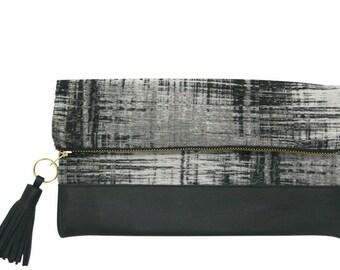 Crosshatch & Black Leather Clutch with Tassel