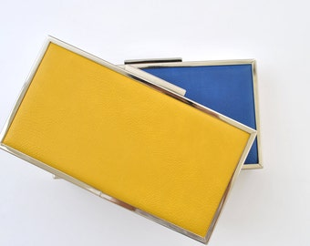 LEATHER box clutch - 8.5x4.5 inches - FREE SHIPPING - Yellow / Blue