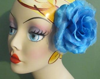 RETRO Turquoise Rose Hair Flower clip - Weddings - Flamenco -