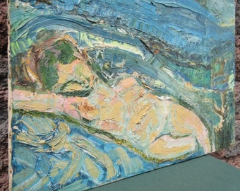 INCREDIBLE Vintage Female Lying Nude Impressionist Modernism Oil Canvas Painting
