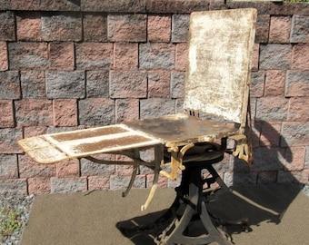 Antique BETZ Angel Cast Iron Legs Medical Exam Chair Tattoo Halloween Table