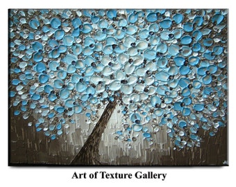 Abstract Painting Big Original Texture Modern Blue Silver White White Floral Tree Sculpture Knife Painting by Je Hlobik