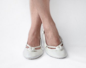 Ballet Flats - Ivory Alert - Handmade Leather slip ons - CUSTOM FIT