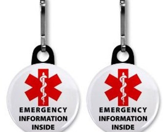 MEDICAL INFORMATION INSIDE Red Alert Symbol 2-Pack of Zipper Pull Charms (Choose Size and Backing Color)