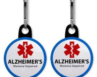 ALZHEIMER'S Memory Impaired Medical Alert 2-Pack of Zipper Pull Charms (Choose Size and Color of Backing)