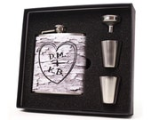 Personalized Flask, Rustic Heart and Initials Custom Flask Gift Set
