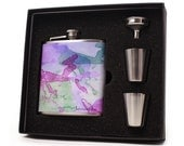 Watercolor Flask Gift Set // 6oz