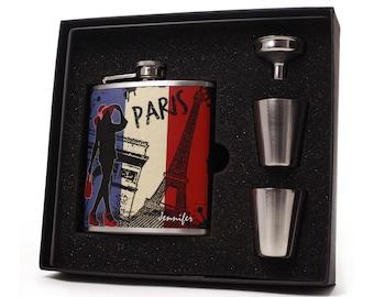 Personalized Flask // Paris Design 6 oz Flask