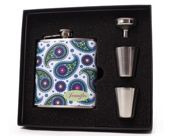 Flask for Women // Personalized Paisley Design Gift Set