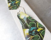 Bird in a Thicket Tin Earrings-Vintage Tin-Light Weight Dangles-Bird Lover Earrings- Green Black Yellow