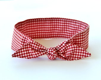 No Wire Dolly Bow Headband Rosie the Riveter Red Gingham Rockabilly Pin Up Women Teen Girls Headscarf Top Knot Headband