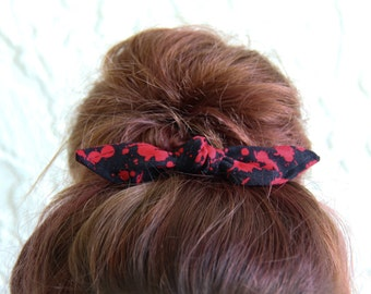 Knotted Bun Clip Hair Bows Black with Blood Splatter Hair Bow Girl Teen Women Hair Accessory French Barrette Alligator Clip Hair Ties