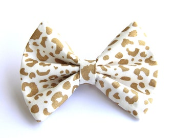 Hair Bow Vintage Inspired Gold Metallic Cougar Animal Print Clip Rockabilly Pin up Teen Woman